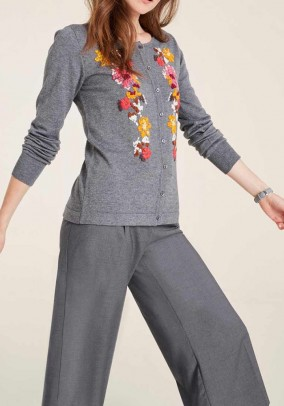 Knit cardigan with embroidery, grey blend
