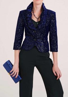 Short blazer with sequins, midnight blue
