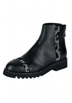 Leather bootie with strass, black
