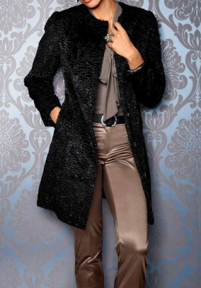 Weave fur coat, black