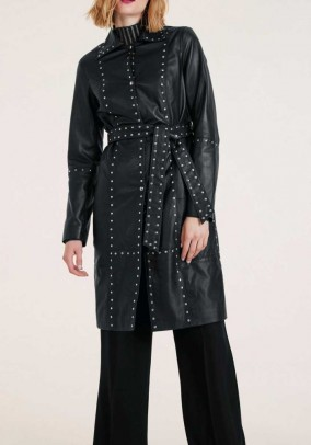 Lamb nappa leather coat with rivets, black