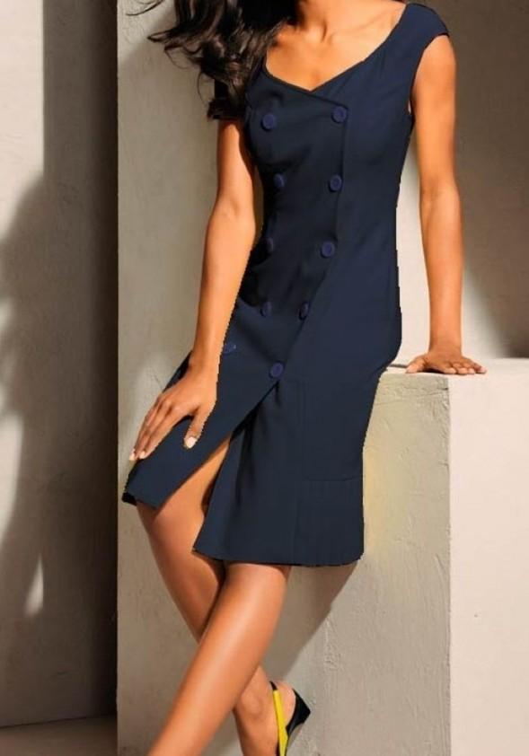 Klasikinė mėlyna S. Madan suknelė. Liko 34 dydis