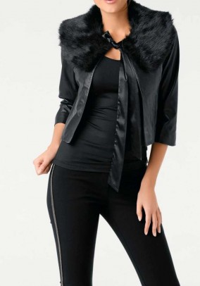 Lamb nappa leatherjacket with weave fur, black