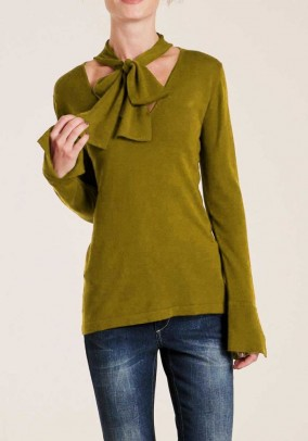 Sweater with slip tie, olive