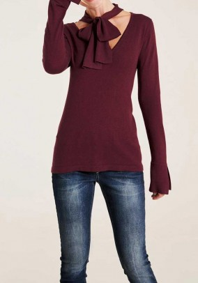 Sweater with slip tie, bordeaux