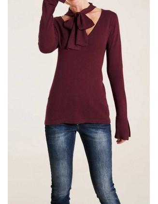 Bordo megztinis su šaliu