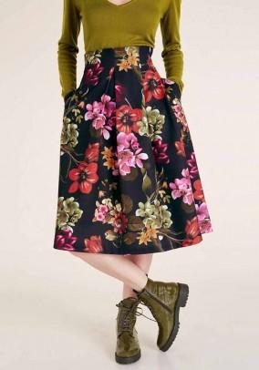 Print skirt, black-multicolour