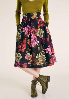 Sijonas su gėlių motyvais ir kišenėmis