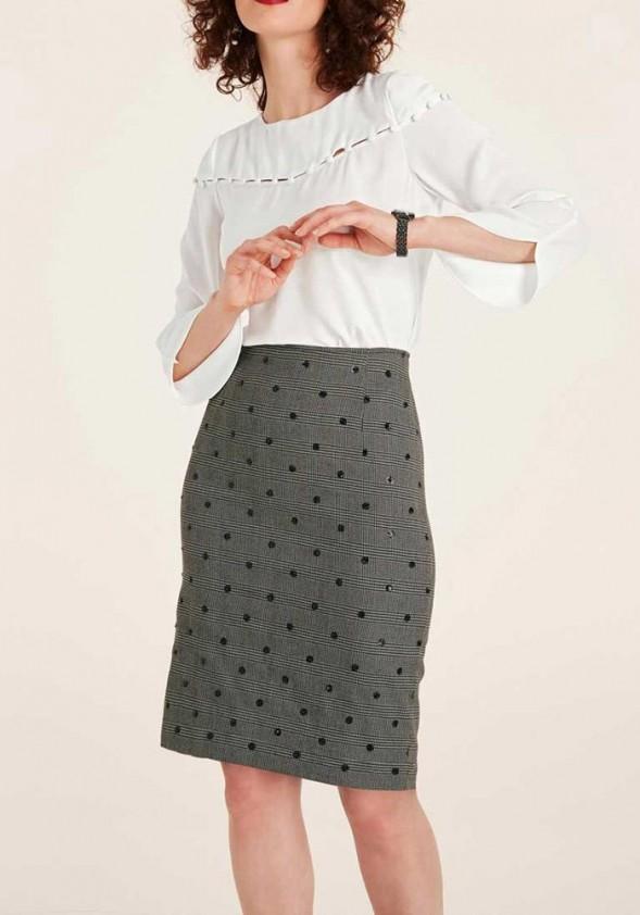 Pilkas klasikinis dekoruotas sijonas