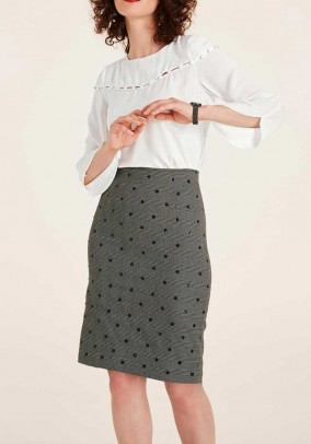 Pencil skirt with sequins, black-offwhite