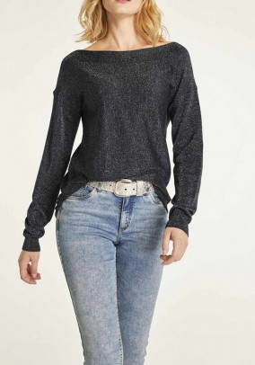 Fine knit sweater, black-silver
