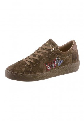 Velours leather sneaker, olive