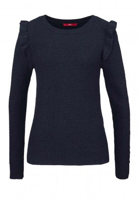 Sweater with ruffles, dark blue