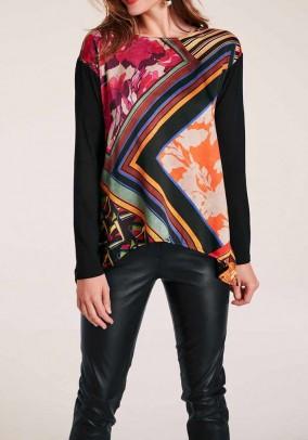 Blouse shirt, black-multicolour