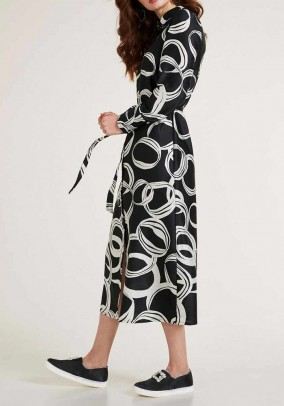 Print dress with belt, black-white