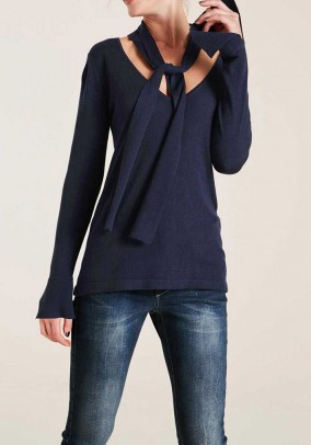 Sweater with slip tie, navy