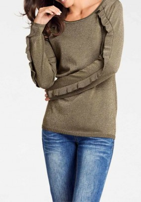 Sweater with ruffles, olive-gold coloured