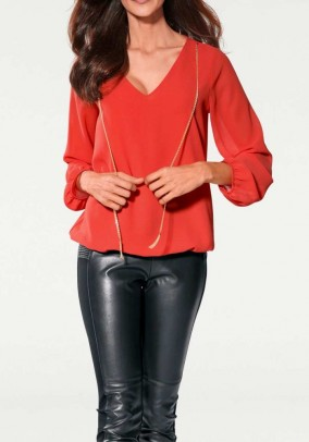 Chiffon blouse with chains, coral
