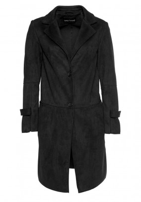 Velour imitation coat, black