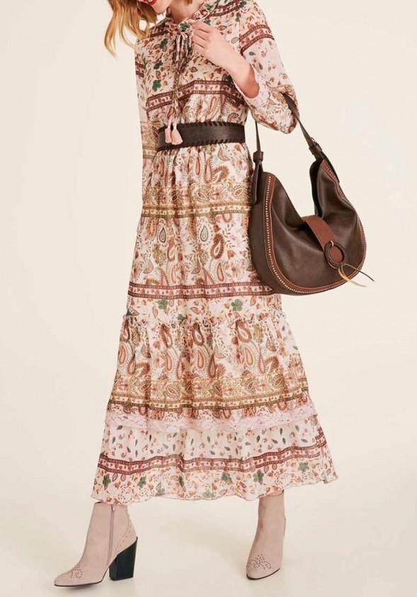 Vintažinio rašto ilga suknelė