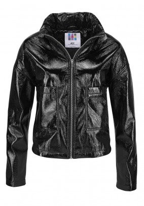 Patent leather imitation jacket, black