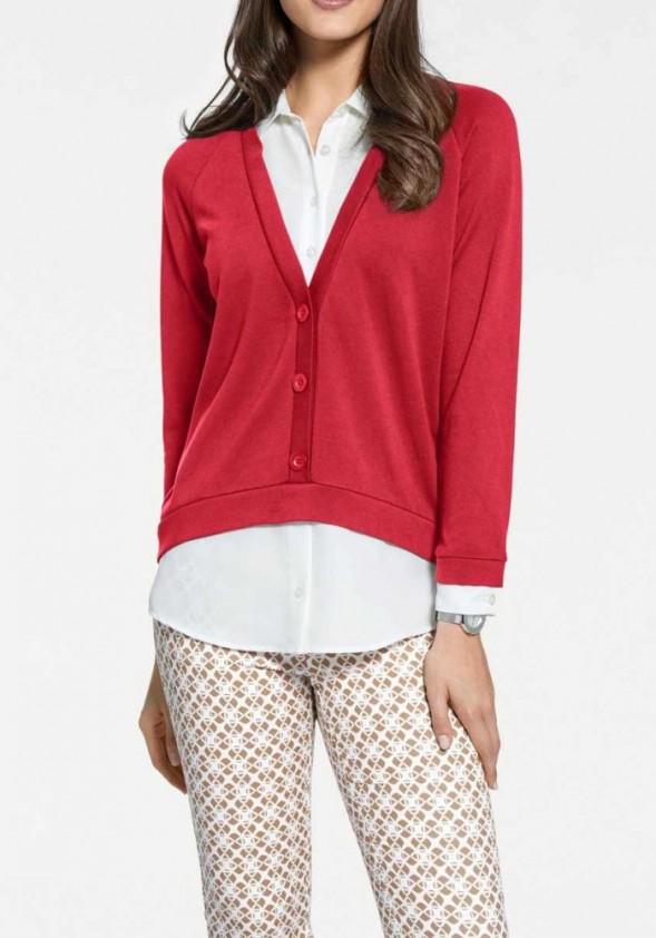 Raudonas dviejų dalių megztinis