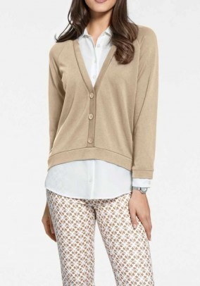 Two-in-one blouse shirt, sand-white