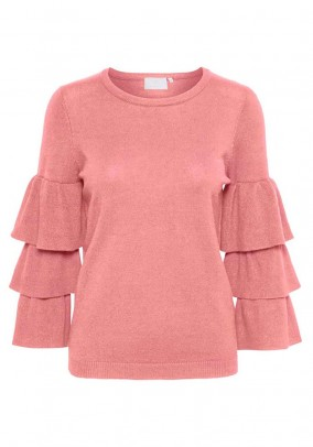 Sweater with flounces, rose