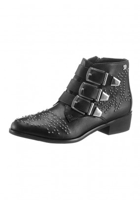Bootie with rivets, black