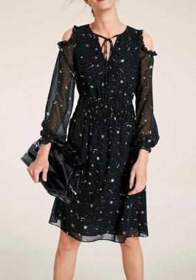 Dress with cut-outs, black-ecru
