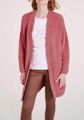 Chenille cardigan, old rose