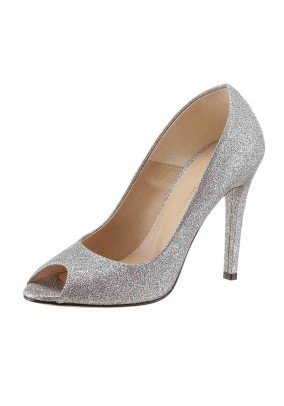 Evening peeptoe pumps, silver coloured