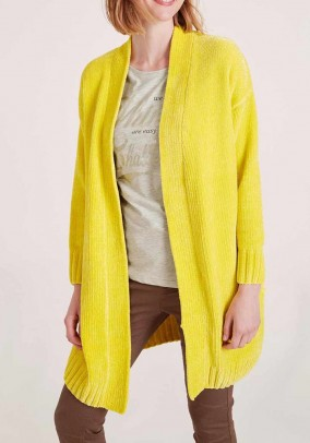 Chenille cardigan, yellow