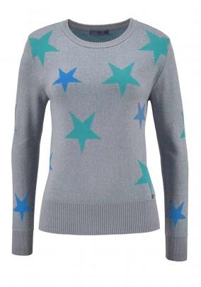 Fine knit sweater, grey-multicolour