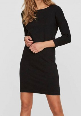 Fine knit dress, black