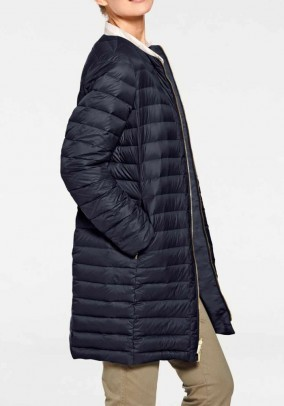Reversible long down jacket, navy