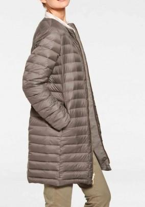 Reversible long down jacket, taupe
