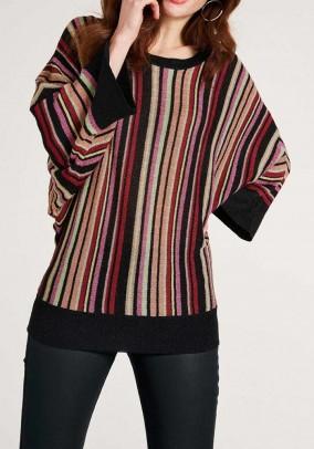 Dryžuotas megztinis plačiomis rankovėmis