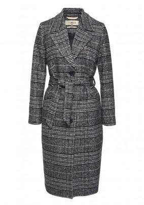 Coat, black-ecru