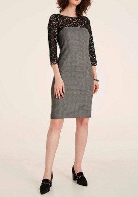 Sheath dress with lace, black-offwhite