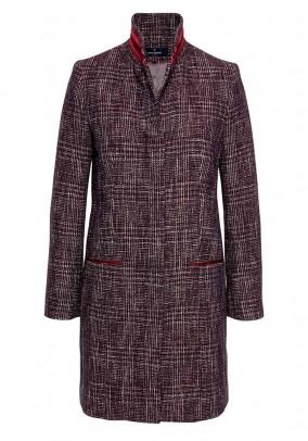 Wool coat, purple-multicolour
