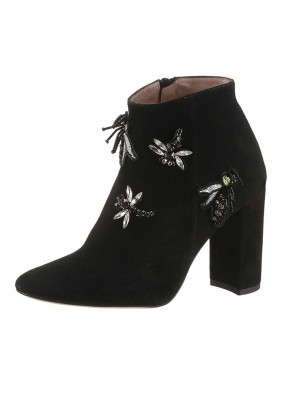 Velours bootie with patches, black