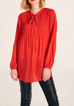 Blouse with slip tie, coral