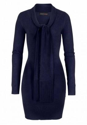 Fine knit dress with slip-tie, navy