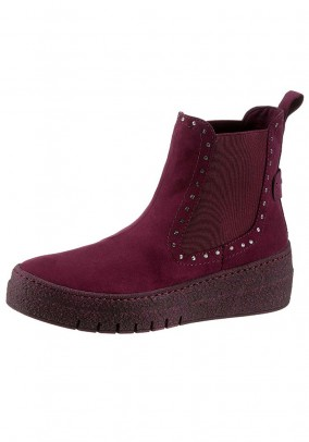 Chelsea boots with rivets, merlot