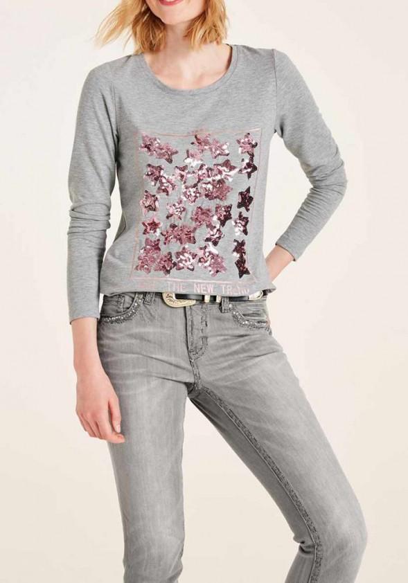 Pilki marškinėliai su žvyneliais