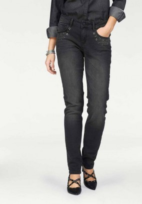 Stretch jeans with strass, black, 33inch