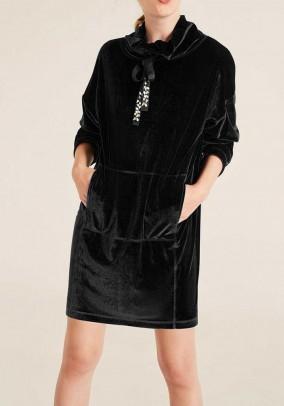 Velvet long shirt, black