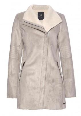 Pilkas odinis paltas su kailiu