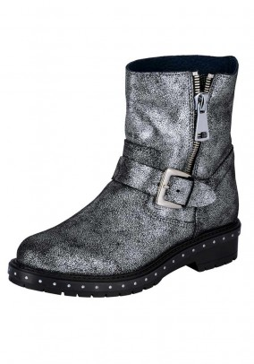 Leather bootie, silver grey metalic